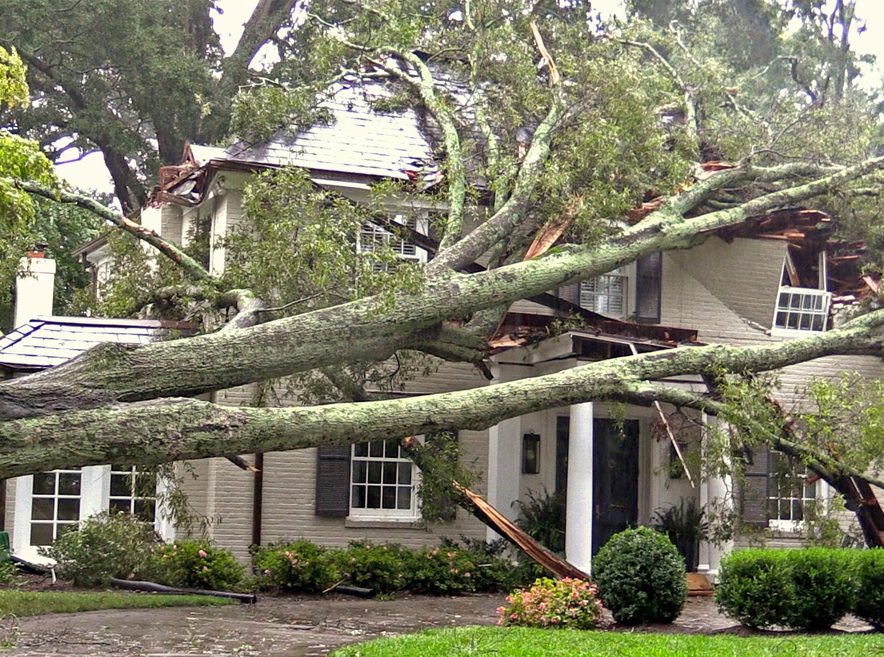 A tree rests atop a home on Queens Road West in Charlotte, N.C. on Sunday, Sept. 16, 2018. Tropical Storm Florence brought heavy rain and winds to the Charlotte area over the weekend, with trees falling throughout the city.