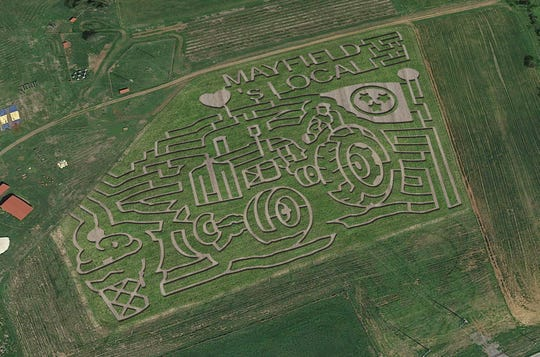 Mayfield Corn Maze and Pumpkin Patch's 2018 corn maze design showcases a tractor and an ice cream cone.