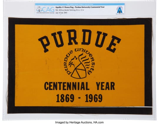 A Purdue Centennial flag that went with Neil Armstrong on the Apollo 11 mission to the moon is among more than 2,000 items from the Armstrong family collection by Heritage Auctions, starting in October.