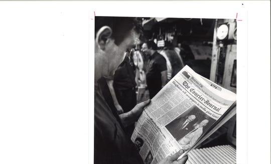Pressman reads about sale of CJ to Gannett, 1986