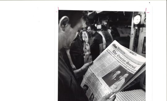 Pressman reads about sale of CJ to Gannett, 1986