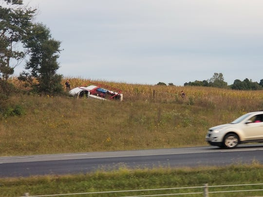 Law enforcement agencies are seeking the driver who fled from this crash scene on Interstate 71 Sunday afternoon.