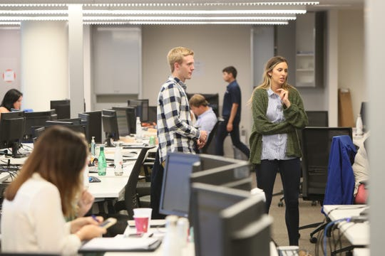 Nearly 200 workers fill the office space of Indigo, which started three years ago with just two employees, and is now launching a digital platform for buying and selling grain set to go public on Tuesday, Sept. 18, 2018.