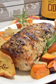 Hard cider adds pizzazz to a pork loin roast.