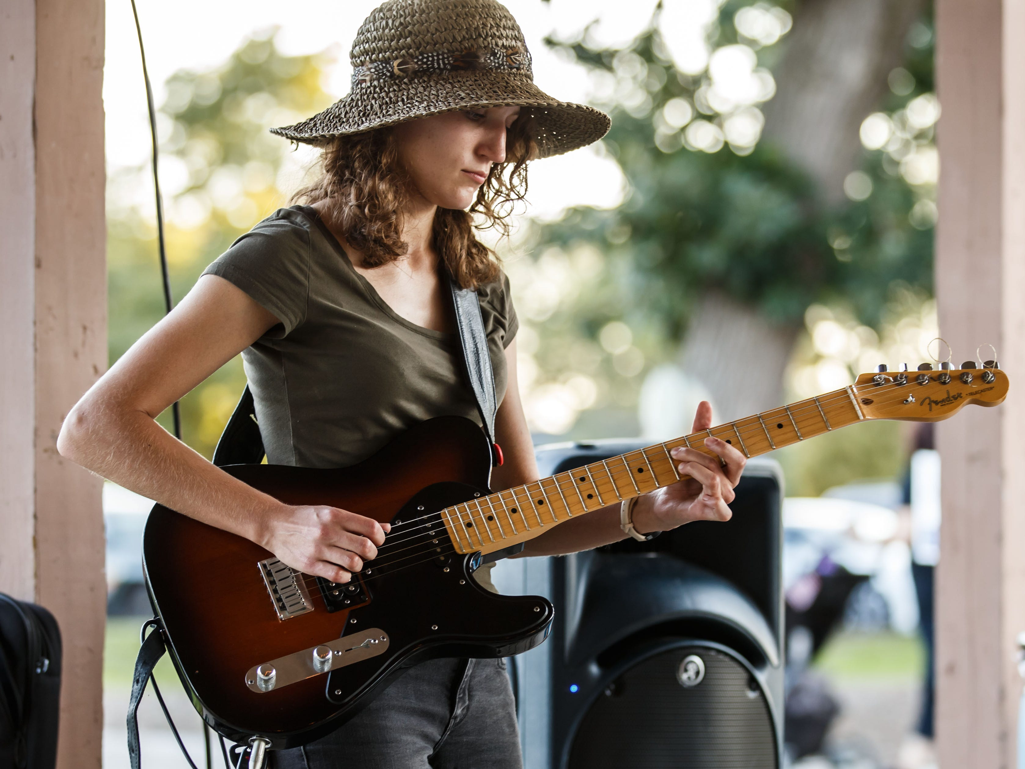 Musicians Jenna Rades and Michael Sodnik (not pictured) perform during Pewaukee Parktoberfest at Kiwanis Village Park on Saturday, Sept. 15, 2018. The event, hosted in conjunction with Pewaukee Park & Rec., features the Winnebeergo mobile beer garden, live music, food trucks, a rotating selection of 12 different craft beers, games and more.