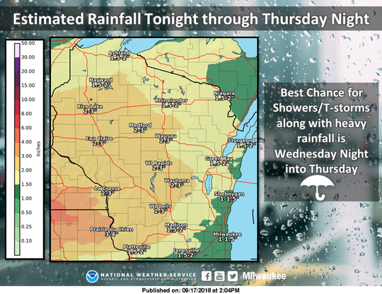Heavy rainfall is possible this week across Wisconsin.