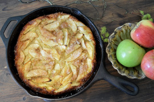 Dutch Apple Pancake is baked in a cast-iron pan.