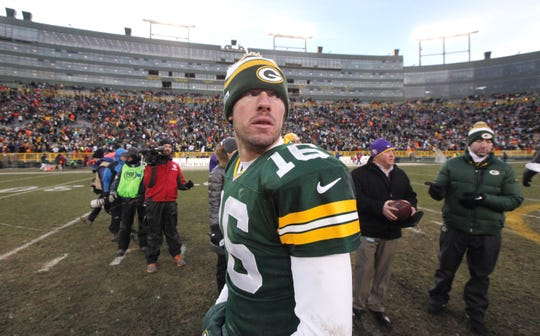 Green Bay Packers quarterback Scott Tolzien (16) leaves the field  their game Sunday, November 24, 2013 at Lambeau Field in Green Bay, Wis. The Green Bay Packers tied the Minnesota Vikings 26-26.