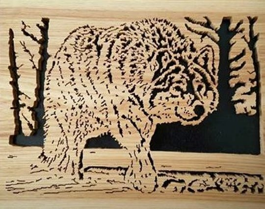 Tom Rackowski, the father of Dawn Murray and John Rackowski, the founders of Brew City Crafters, does scroll saw art. He will be displaying his work at Harvest Fest.