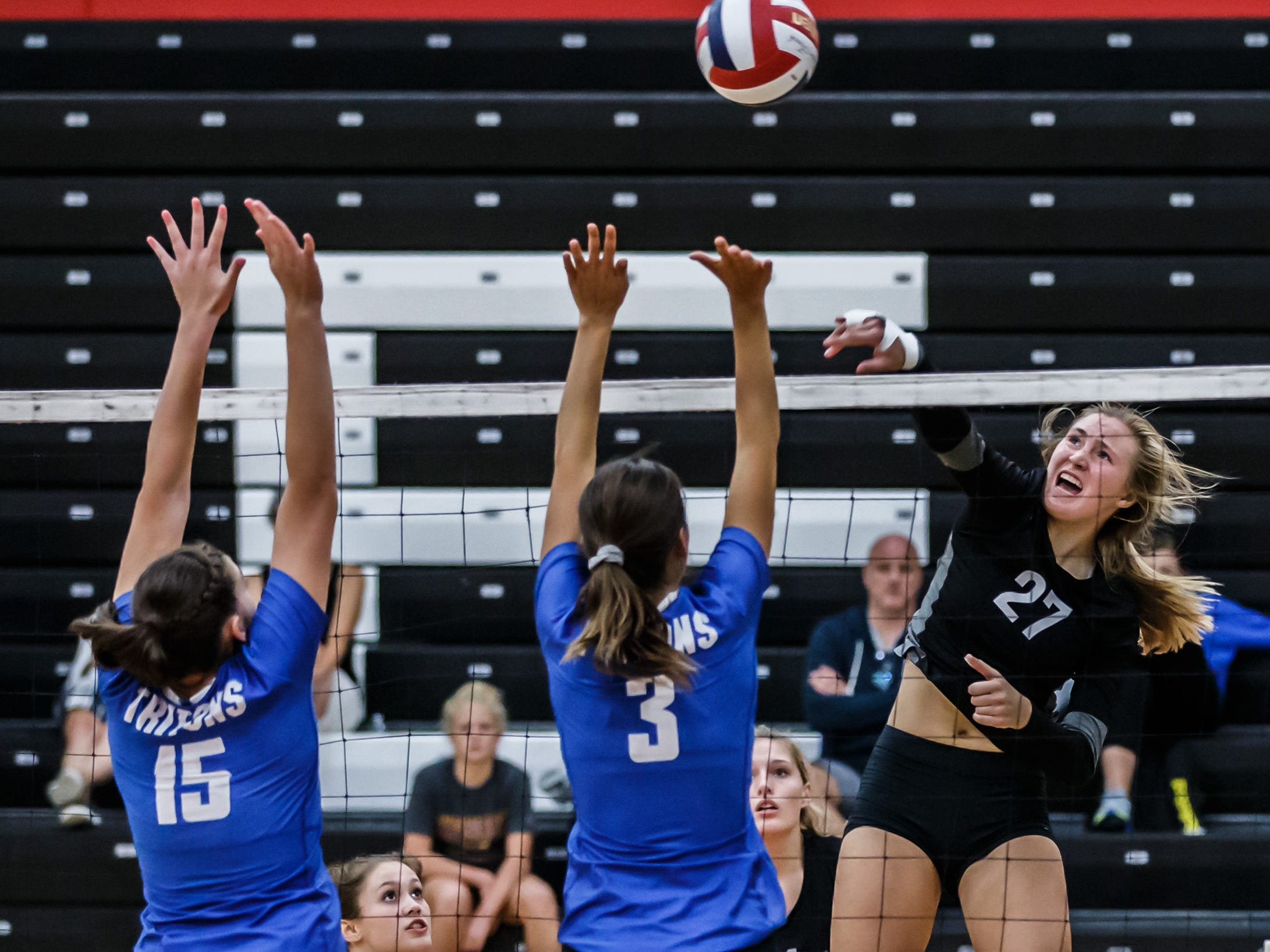 Pewaukee's Elsa Sheperd (27) elevates for a kill during the championship match against Notre Dame Academy in the Lady Pirate Invitational at Pewaukee on Saturday, Sept. 15, 2018.