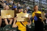 Annie Bartosz  turned Miller Park turned gold to raise awareness of childhood cancer. Her 10-year-old son Jack died of cancer.