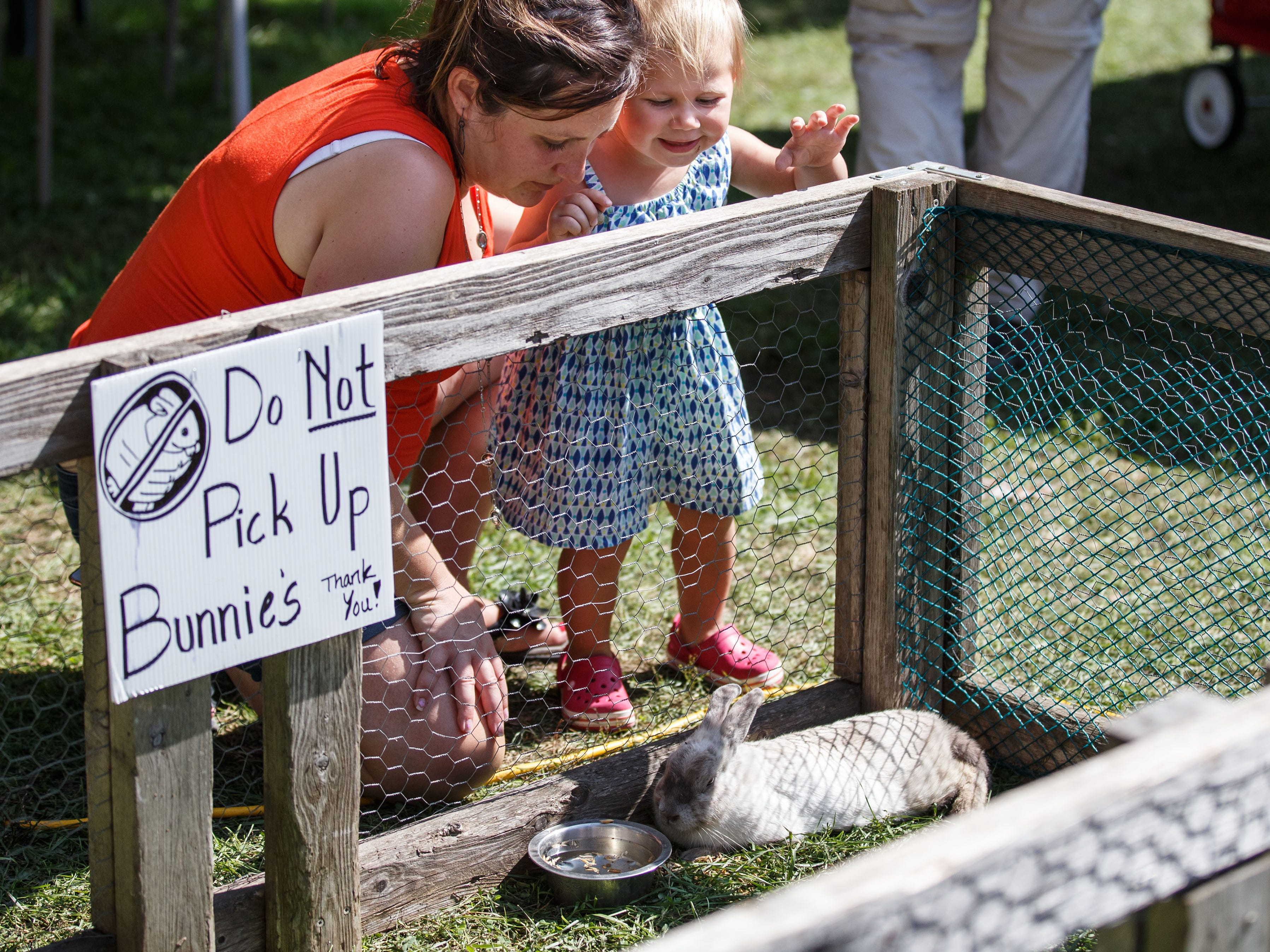 Two-year-old Harper Sutkiewicz and Jena Fleischman, both of Waukesha, visit the Cedar Creek Farm petting zoo during the 46th annual Wine & Harvest Festival in downtown Cedarburg on Sunday, Sept. 16, 2018.