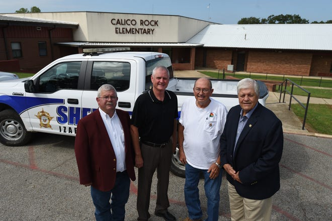 Officials including (from left) Chief Deputy Ernie Blackley, Calico Rock School District Superintendent Jerry Skidmore, Calico Rock Mayor Ronnie Guthrie and Izard County Sheriff Jack Yancey are working on an agreement to put a sheriff's office substation at the Calico Rock Elementary School.