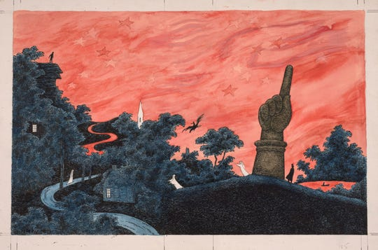 Edward Gorey, Haunted America, 1990. Watercolor, pen and ink, and pencil on paper. Wadsworth Atheneum Museum of Art, American Paintings and Drawings Purchase Fund, 2015.4.1. ©  The Edward Gorey Charitable Trust.