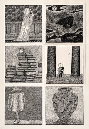 Edward Gorey, Phantasmagorey, 1974. Pen and ink with collage on paper.  Collection of Clifford Ross.