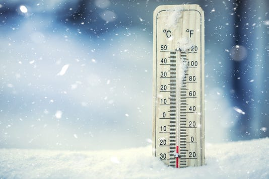 Thermometer On Snow Shows Low Temperatures Under Zero