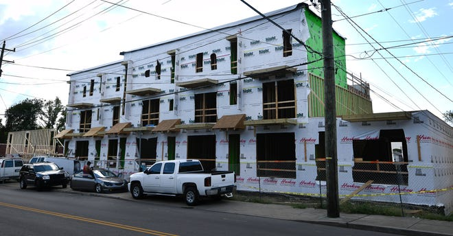 A new housing development is being built at the corner of Lischey and Douglas avenues on Friday, Sept. 14, 2018, in Nashville, Tenn.