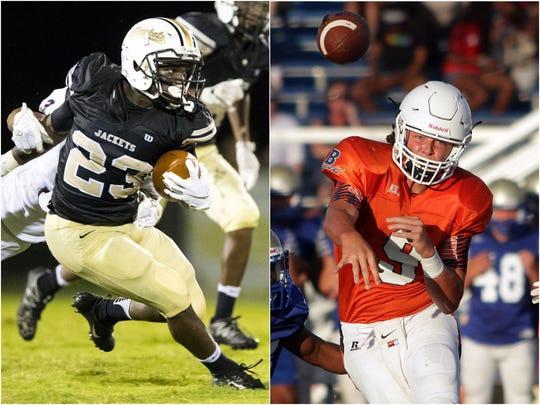 Springfield wide receiver Dayron Johnson (left) and Beech quarterback Jackson Bryan (right)