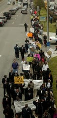 Protesters march against proposed TennCare cuts April 8, 2005, in Nashville.