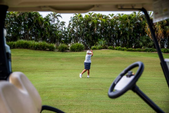 Carol Thesieres, 79, plays a game of golf at the Naples Grande Golf Club on Tuesday, Sept. 11, 2018. Thesieres will be inducted into the National Squash Hall of Fame next month.