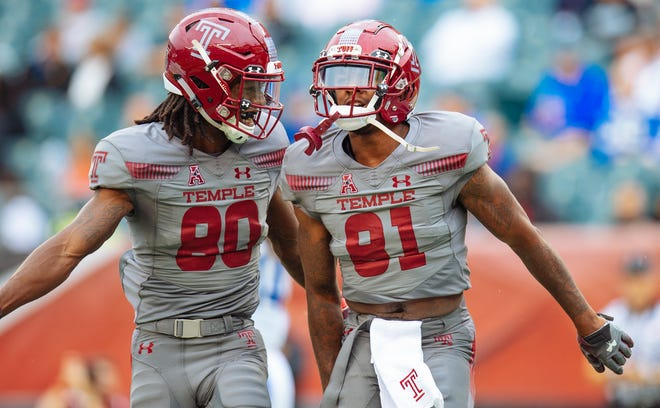 Freddie Johnson (80) of North Fort Myers had a touchdown reception on a Temple fake punt play at Maryland on Saturday that sparked the Owls to an upset win.