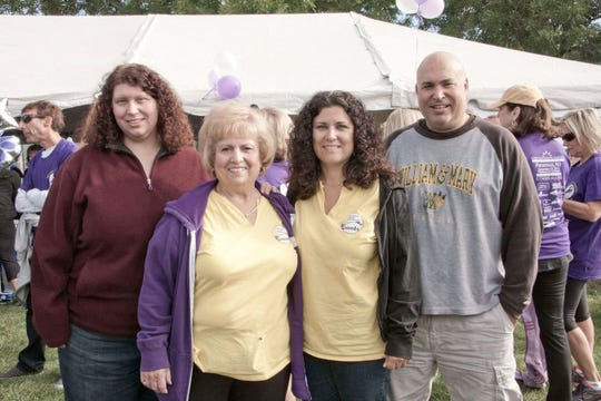 Jeanne Weber at the walk in 2015 with her kids, Denise Weber, Cheryl Thayer and Ron Weber.
