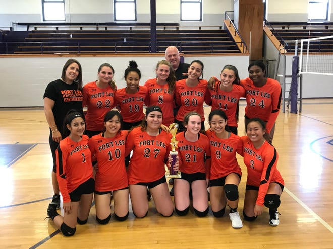 The Fort Lee girls volleyball team captured the Garfield Tournament title on Saturday, Sept. 15, 2018. Junior Valerie Glass (21) led the team in kills on the day.