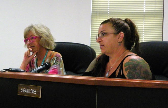 Otero County Commissioner Janet White, left, and Otero County Chairwoman, right, discuss expanding the commission to five members at their regular meeting Sept. 13.  Commissioner Susan Flores appeared telephonically.