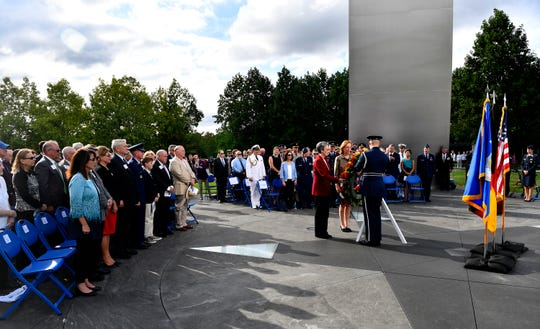 Secretary of the Air Force Heather Wilson and the German Ambassador Dr. Emily Haber lay a wreath during the 70th Anniversary of the Berlin Airlift wreath laying ceremony at the Air Force Memorial, Arlington, Virginia, Sept. 16, 2018. The Berlin Airlift, a herculean humanitarian airlift effort, broke the Soviet Union's blockade of West Berlin and shattered previous airlift records, breaking the airlift barrier. The same hard work and determination by those Airmen continue today as Mobility Airmen are in 23 countries and 77 locations around the world. They continue to enable global access for allies and joint operations though 24 hours-a-day, seven-days-a-week operations with a mobility aircraft.