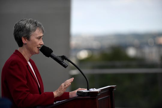 Secretary of the Air Force Heather Wilson speaks during the 70th Anniversary of the Berlin Airlift wreathing laying ceremony at the Air Force Memorial, Arlington, Virginia, Sept. 16, 2018. The event was hosted the German Embassy, Air Force Association and the Berlin Airlift Veterans Association.