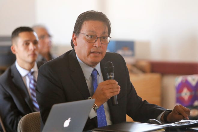 "Diné College President Charles ""Monty"" Roessel talks about initiatives the community college is developing at its campuses in New Mexico and Arizona during a presentation to the New Mexico Legislature's Indian Affairs Committee on Monday in Gadii'ahi"
