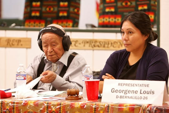 New Mexico Legislature's Indian Affairs Committee co-chair Georgene Louis, right, listens to a presentation by Diné College officials about student enrollment during a committee meeting on Monday in Gadii'ahi.