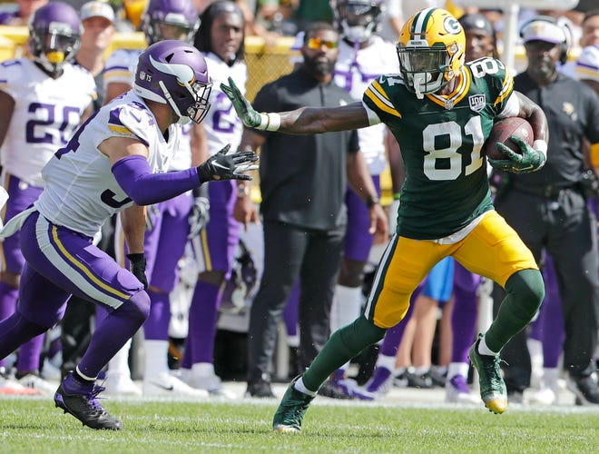 Packers wide receiver Geronimo Allison (81) runs after a catch against the Minnesota Vikings on Sept. 16 at Lambeau Field.
