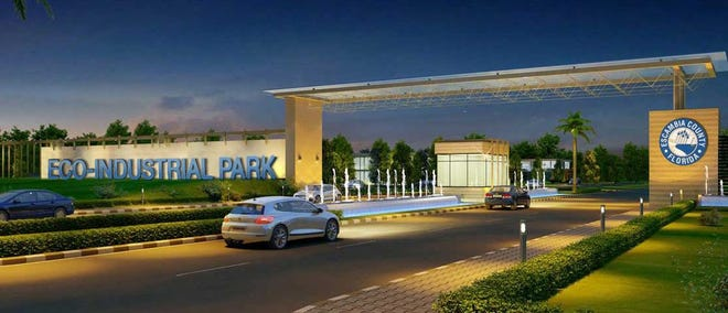 A conceptual image shows what a potential entrance to the Midtown Commerce Park could look like.