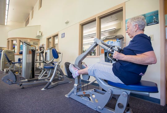 Juanita Farrington, of Pace, works out on the new equipment in the L.I.F.E. (Lifestyle Improvement Fitness Education) Center at the Pensacola State College Milton campus in Milton on Monday, September 17, 2018.