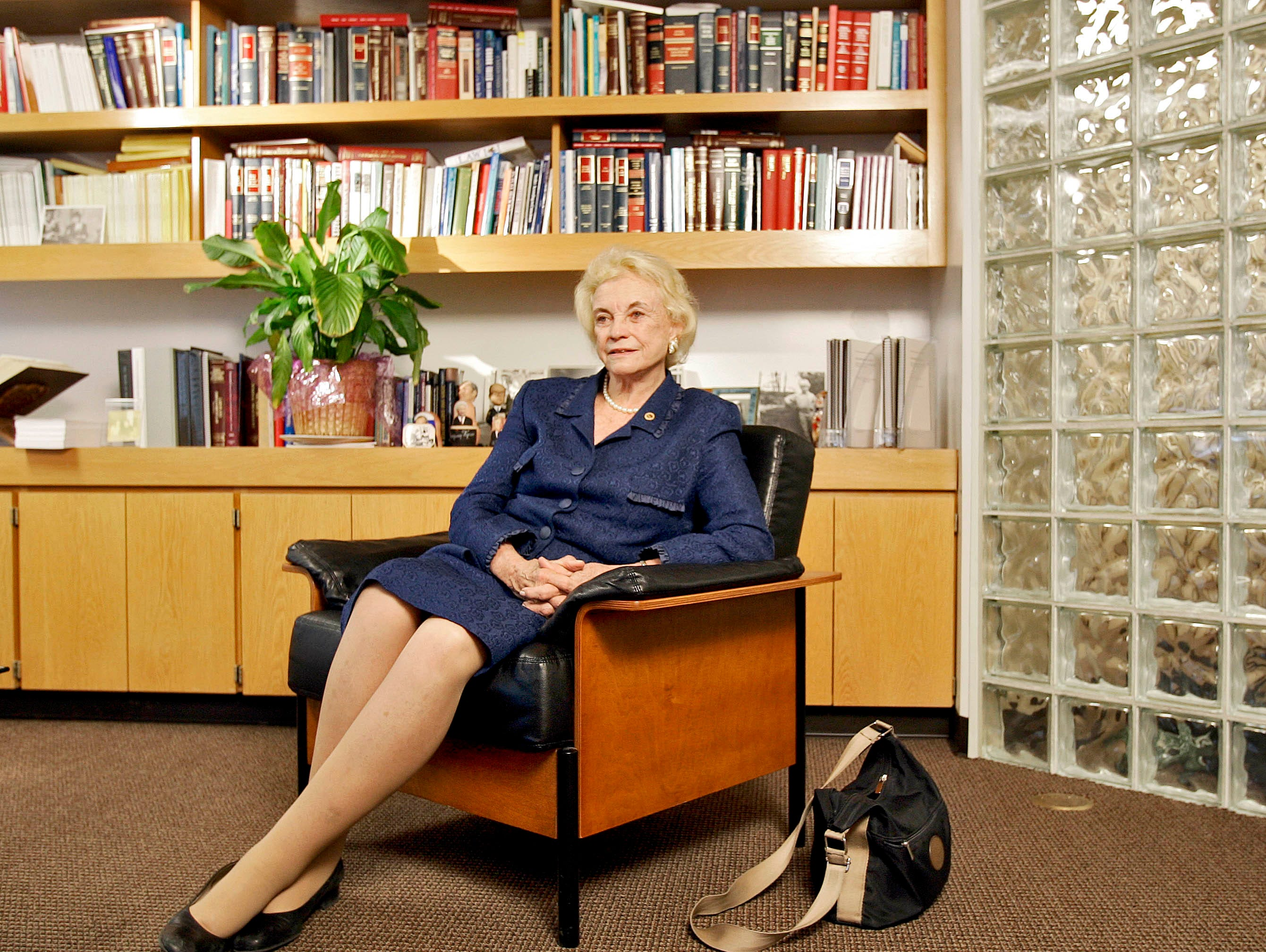Former U.S. Supreme Court Justice Sandra Day O'Connor is shown Friday, Nov. 17, 2006, at Arizona State University's Sandra Day O'Connor College of Law in Tempe, Ariz.
