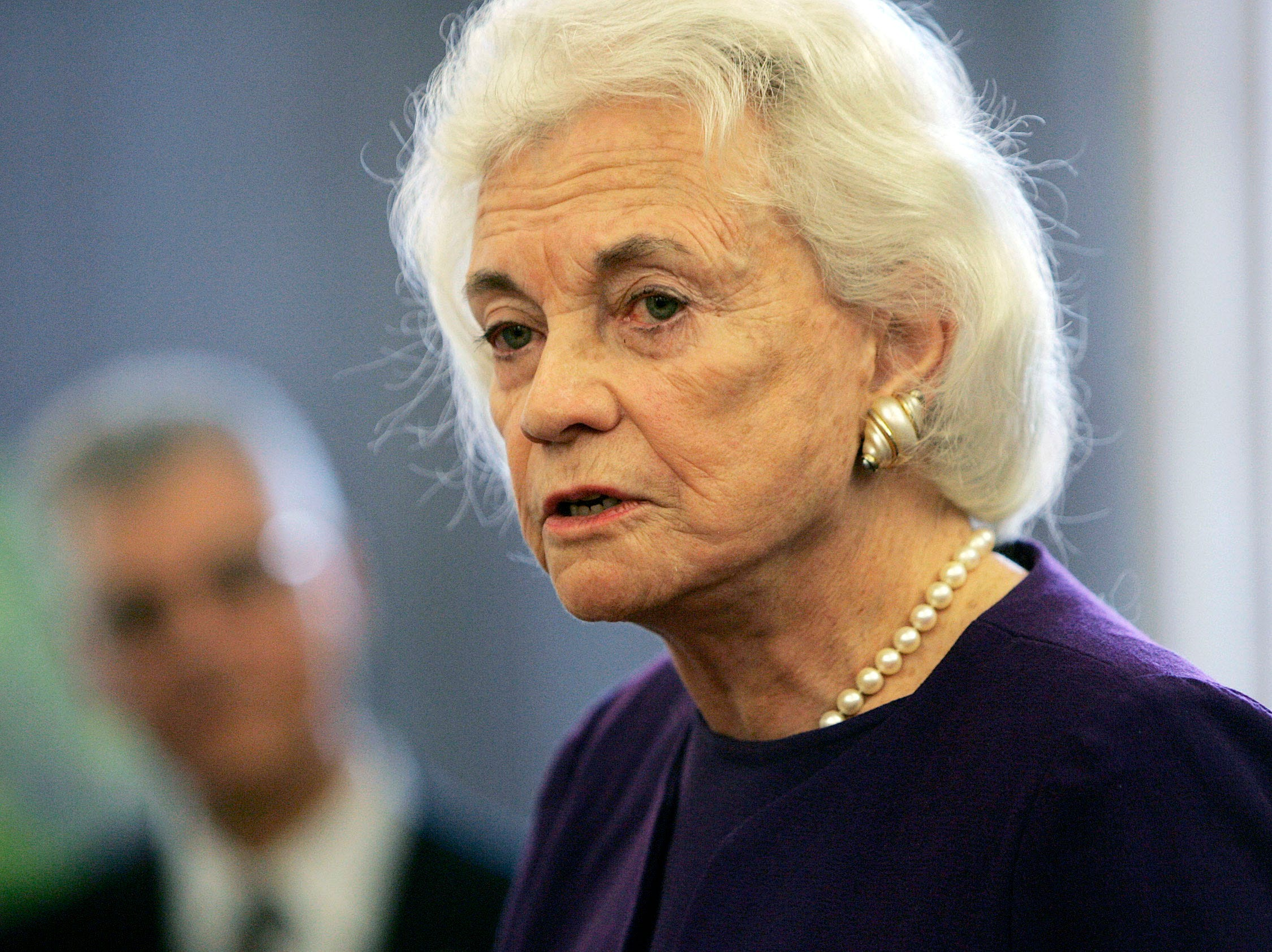 Former U.S. Supreme Court Justice Sandra Day O'Connor addresses students and faculty at the University of Denver school of law  in Denver on Wednesday, Oct. 10, 2007.  She was honored by the Institute for the Advancement of the American Legal System with the inaugural Transparent Courthouse Award.
