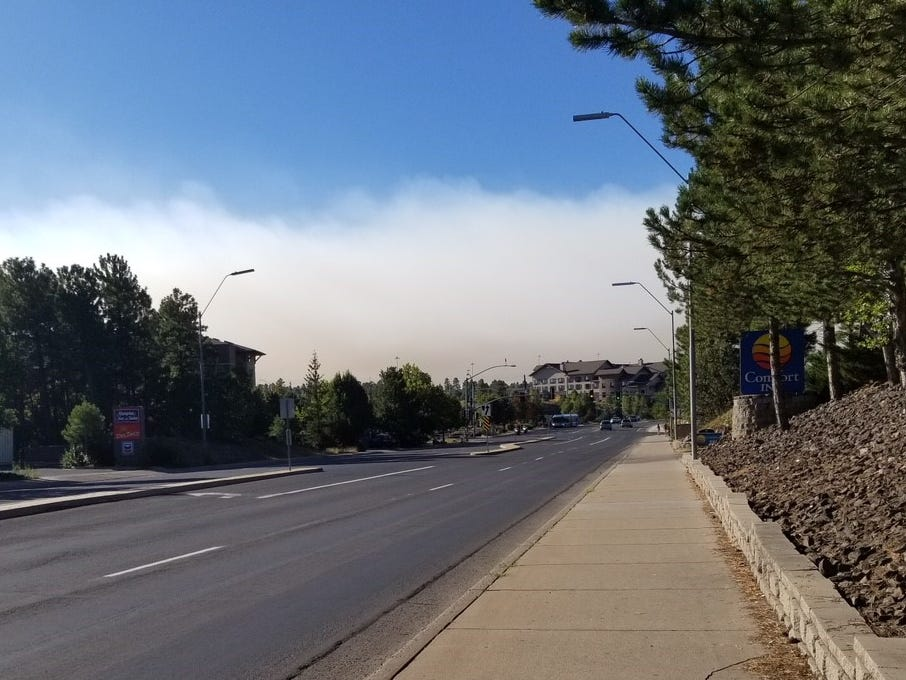 Smoke hangs in the sky south of Flagstaff on Sept. 17, 2018.