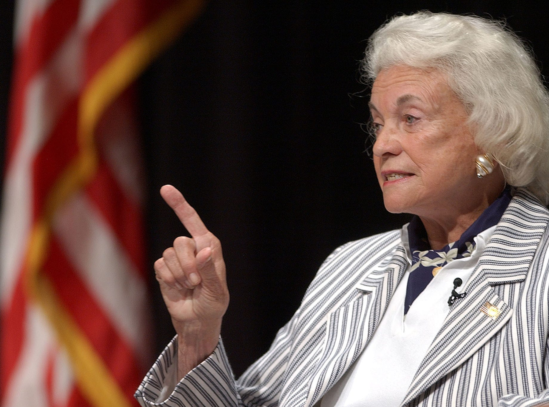 Associate Justice of the U.S. Supreme Court, Sandra Day O'Connor gestures while speaking to members of the 2004 9th Circuit Judicial Conference Thursday, July 22, 2004, in Monterey, Calif.