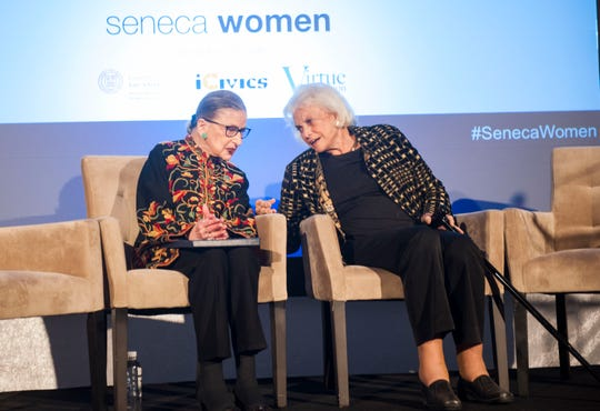 Supreme Court Justice Ruth Bader Ginsburg sits with Justice Sandra Day O'Connor at the Seneca Women Global Leadership Forum at the National Museum of Women in the Arts, on April 15, 2015 in Washington.