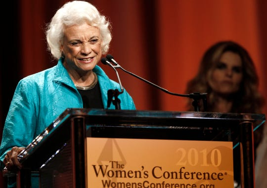 Retired Supreme Court Justice Sandra Day O'Connor accepts the Minerva Award during the Women's Conference Tuesday, Oct. 26, 2010, in Long Beach, Calif.