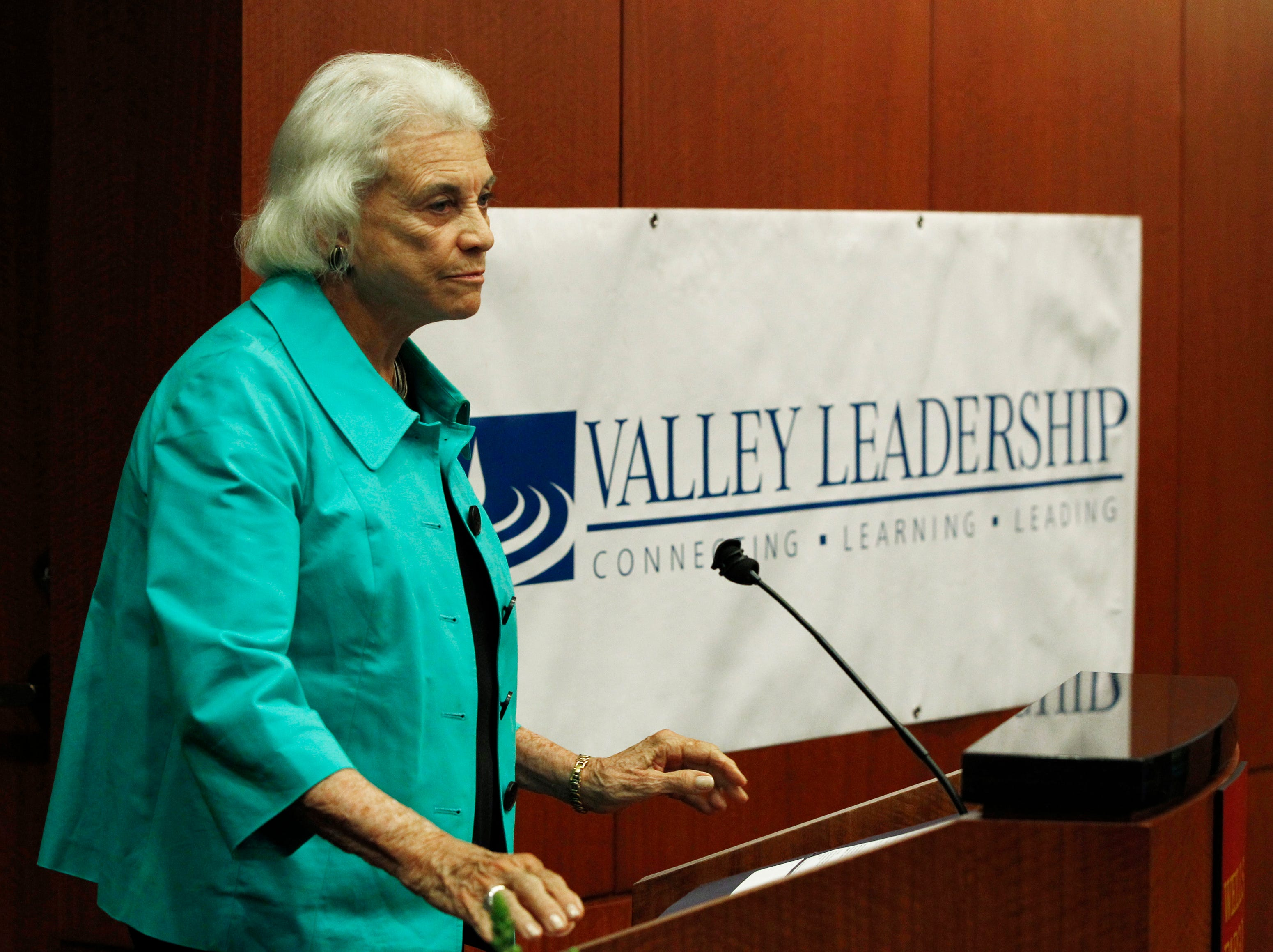 """Former Supreme Court Justice Sandra Day O'Connor addresses a gathering at the Valley Leadership presentation of a Community Dialogue Series """"An Evening With Justice Sandra Day O'Connor"""" Thursday, April 15, 2010, in Phoenix."""