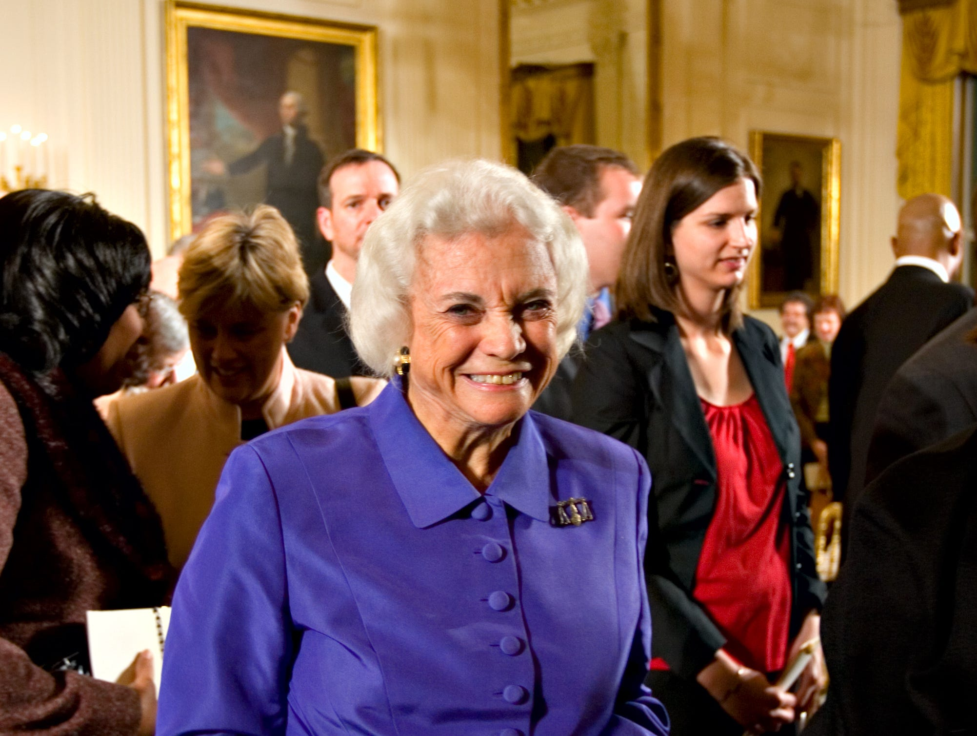 Retired U.S. Supreme Court Justice Sandra Day O'Connor smiles as she leaves a ceremony in the East Room of the White House honoring Abraham Lincoln's 199th birthday, in Washington, Sunday, Feb. 10, 2008. Justice O'Connor received The Lincoln Medal, which recognizes accomplishments that exemplify the character and legacy of Lincoln.