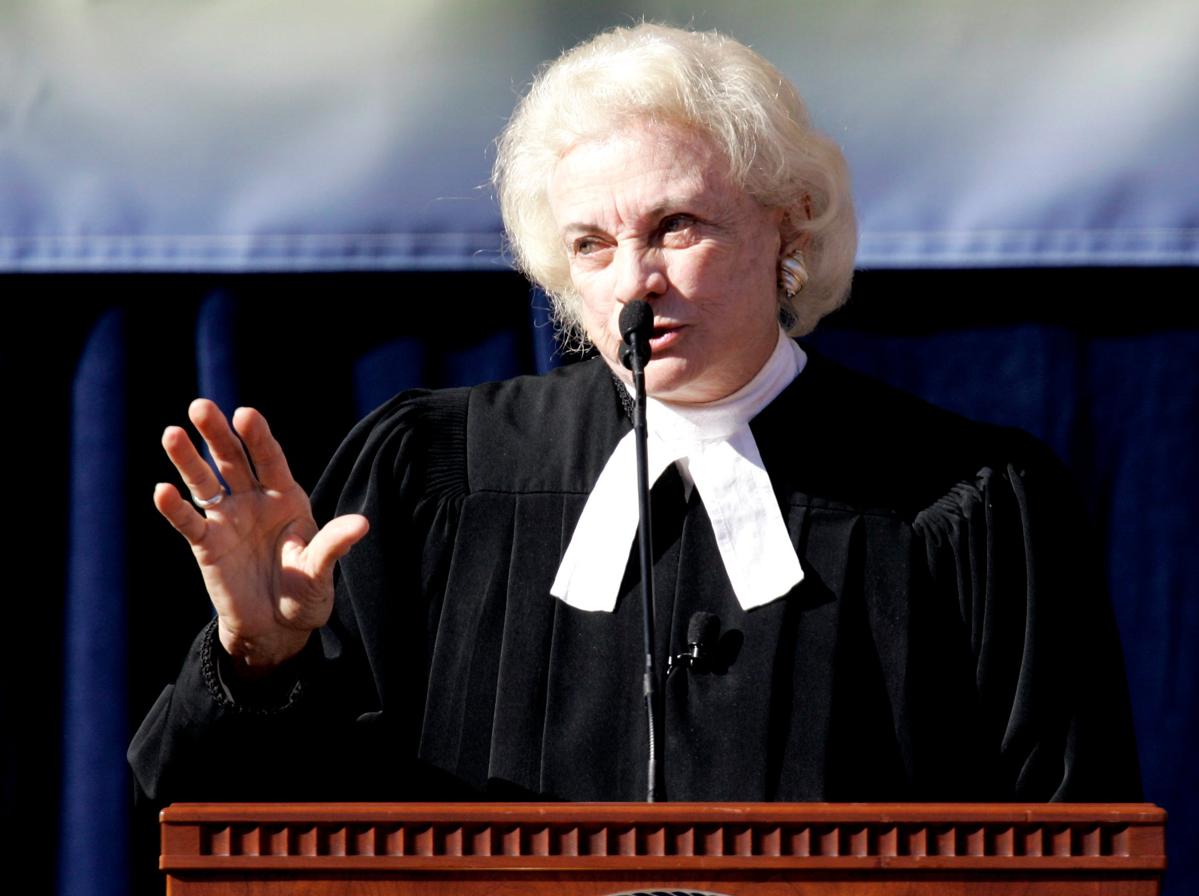 Retired U.S. Supreme Court Justice Sandra Day O'Connor speaks at Arizona Gov. Janet Napolitano's inauguration Thursday, Jan. 4, 2007, in Phoenix. O'Connor swore in Napolitano who was re-elected for a second term in November 2006.