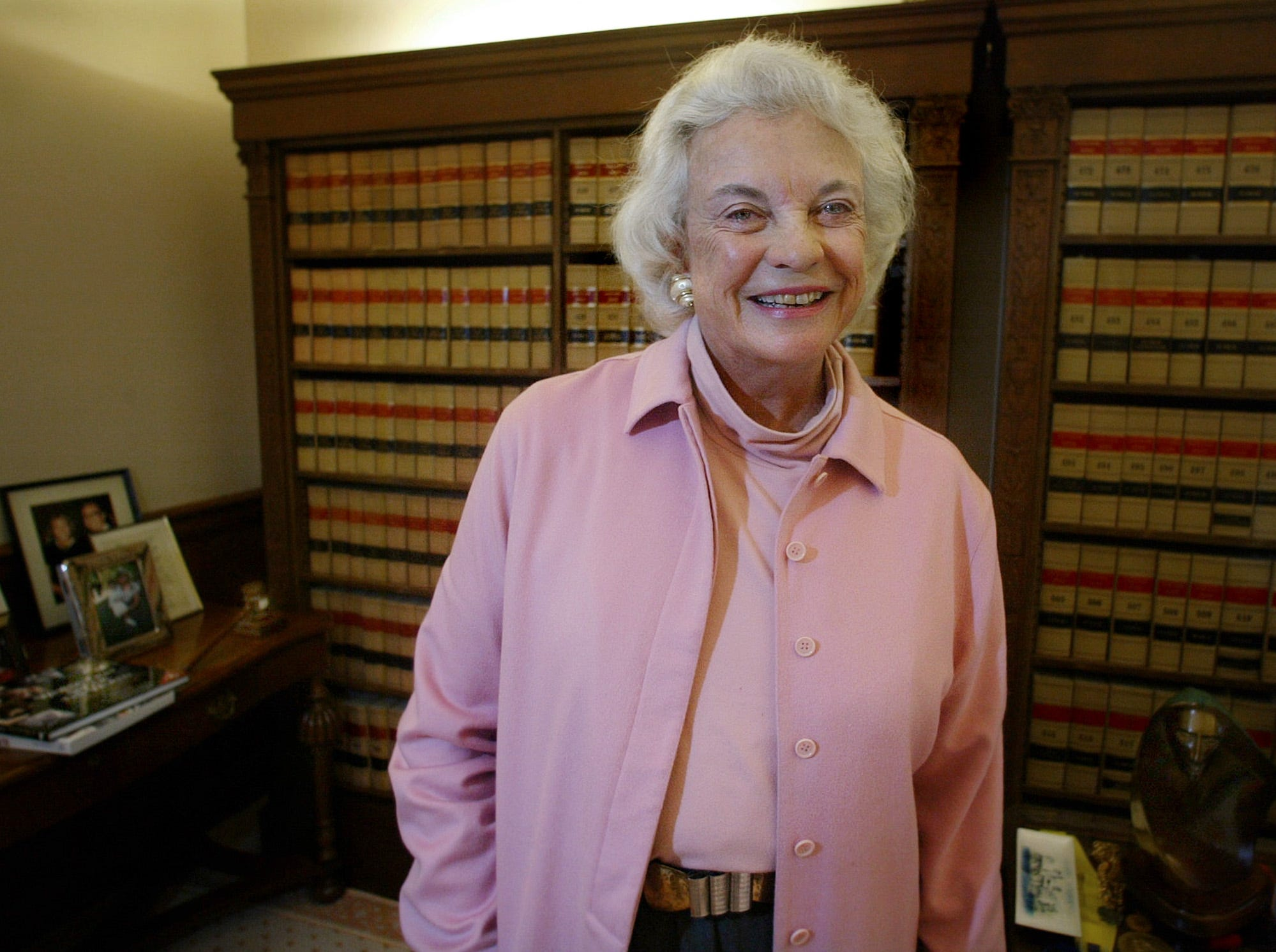 Justice Sandra Day O'Connor, the first woman named to the United States Supreme Court, is interviewed by the Associated Press in her office at the Supreme Court, Monday, April 7, 2003, in Washington.