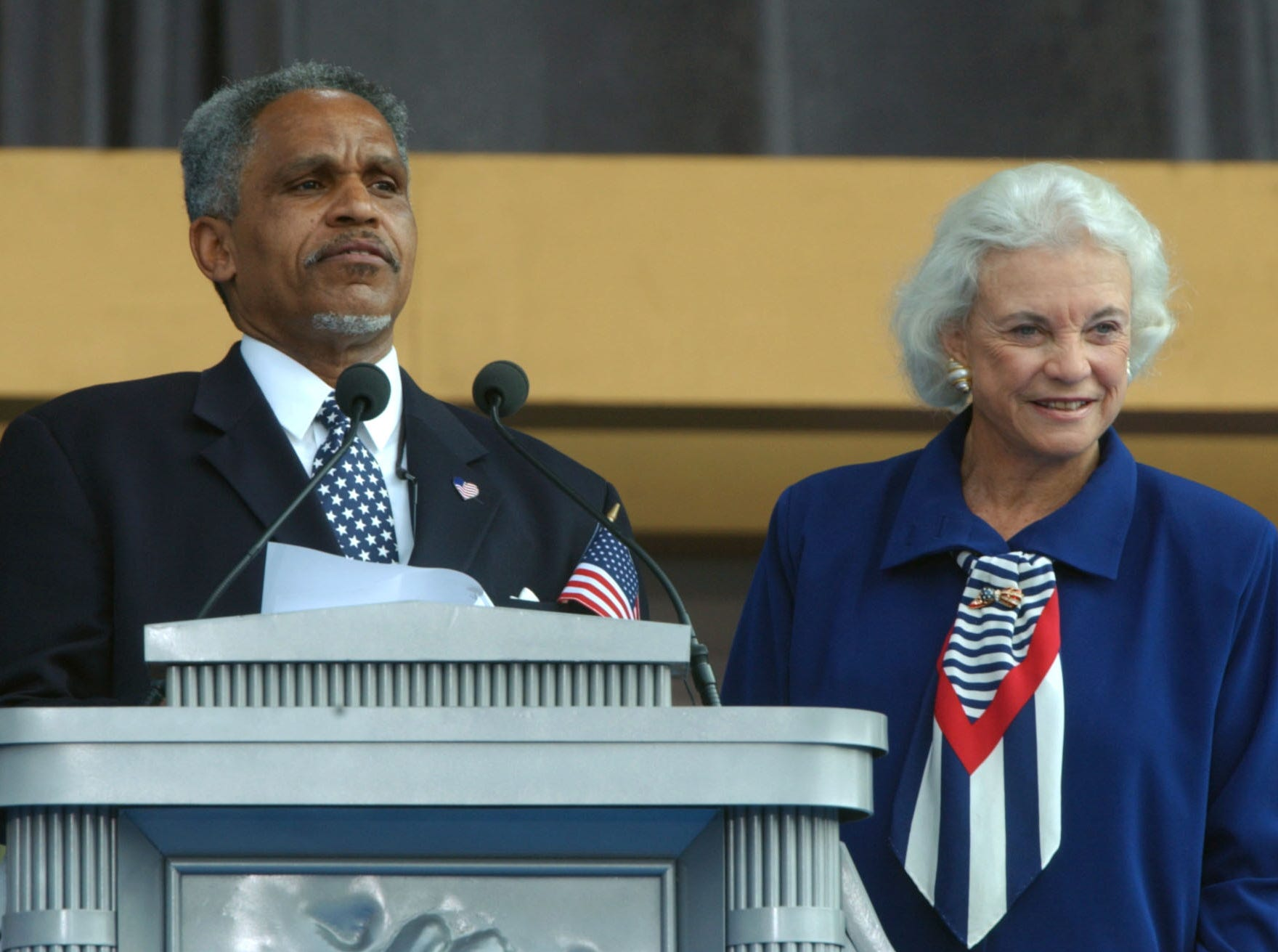 Mayor John Street, left, and  Supreme Court Justice Sandra Day O'Connor look out to the crowd at the opening of the National Constitution Center in Philadelphia, Friday, July 4, 2003. O'Connor received the city's Liberty Medal, an award honoring individuals whose actions represent the founding principles of the United States.