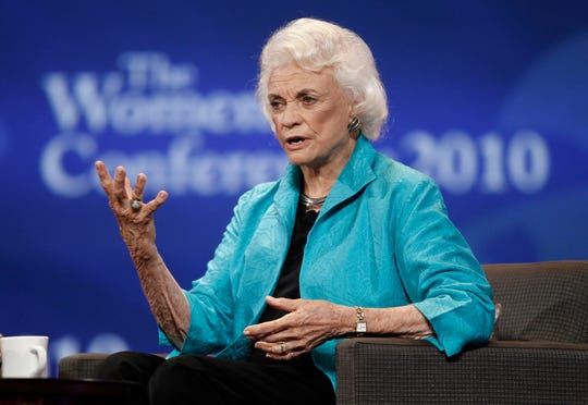 Former Supreme Court Justice Sandra Day O'Connor spoke on stage during the Women's Conference Oct. 26, 2010, in Long Beach, Calif.