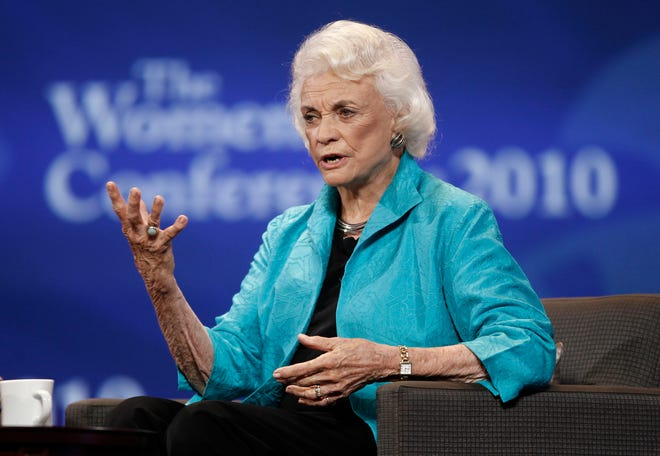 Former Supreme Court Justice Sandra Day O'Connor is seen on stage during the Women's Conference Tuesday, Oct. 26, 2010, in Long Beach, Calif.