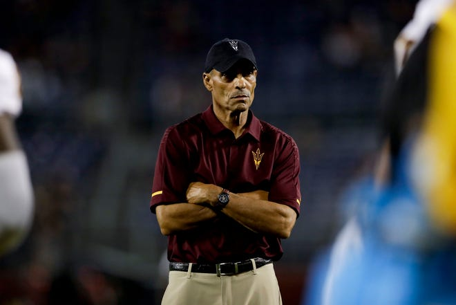 Arizona State head coach Herm Edwards looks on before the game at  San Diego State on Saturday, Sept. 15, 2018.