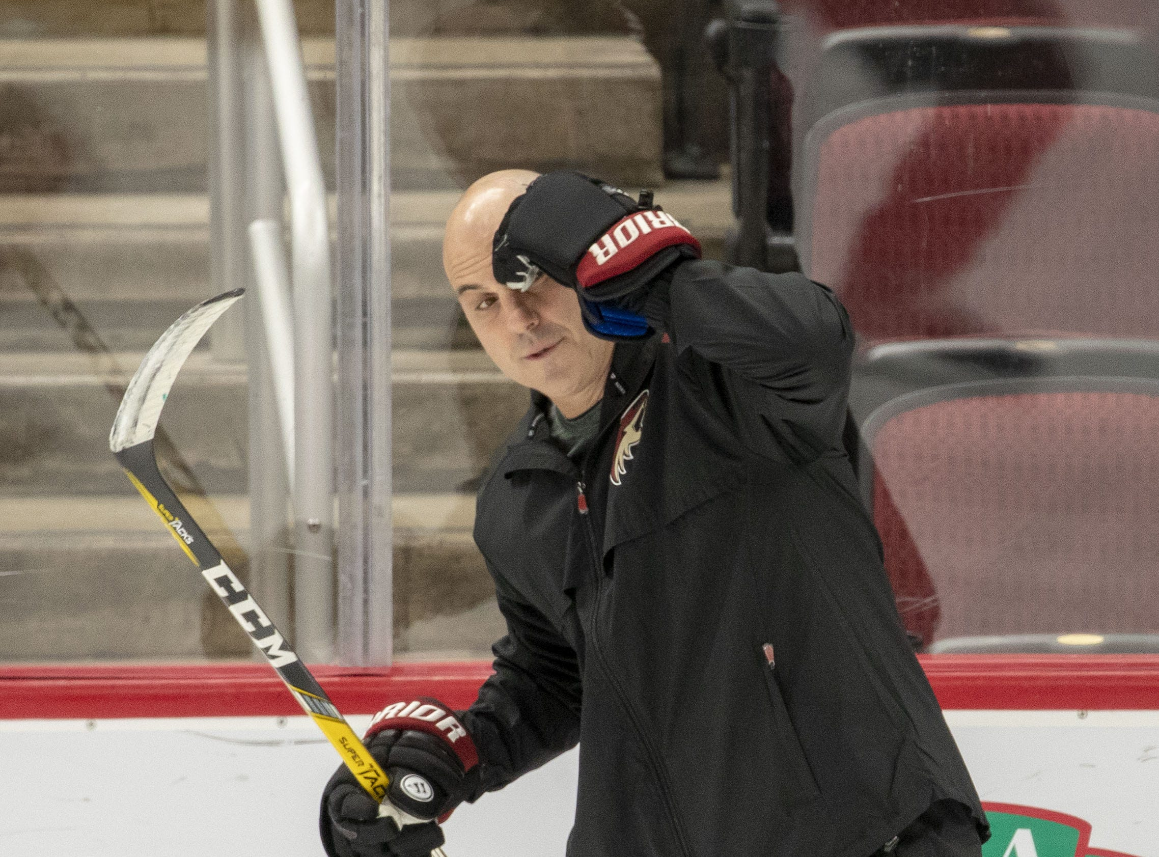 Arizona Coyotes head coach Rick Tocchet during the practice at Gila River Arena.